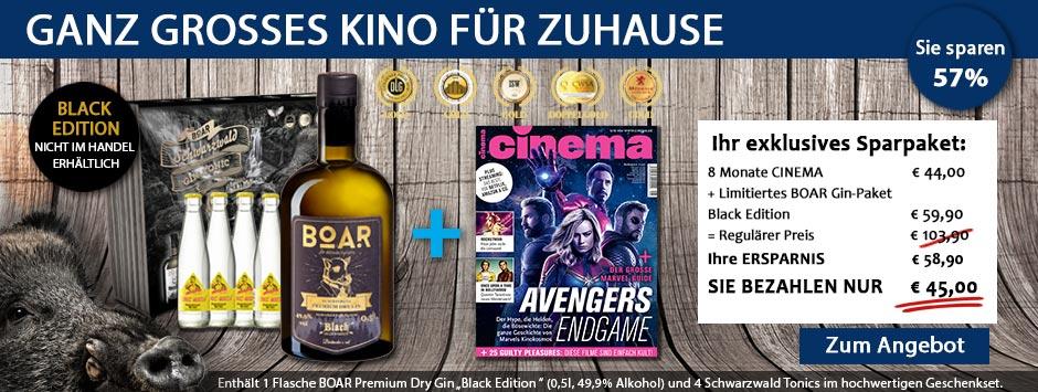 CINEMA - Special Sparpaket BOAR Gin Black Edition für nur 45€