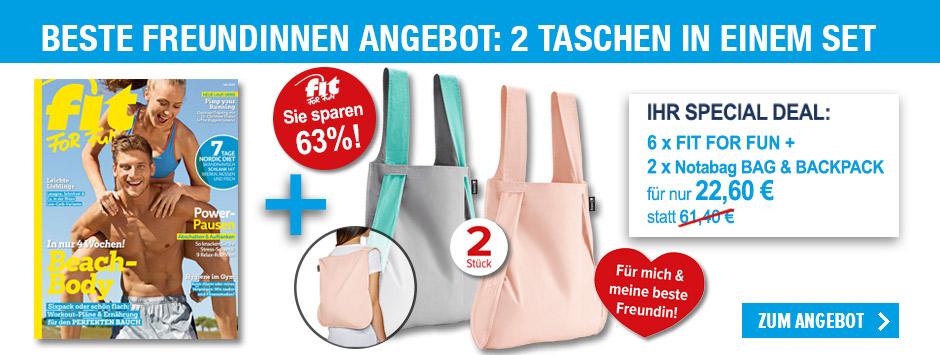 FIT FOR FUN - Sparpaket für beste Freundinnen - 2 notabag Taschen im Set