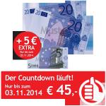 Verrechnungsscheck 40 € + 5 € extra sichern