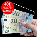 40 € Verrechnungsscheck